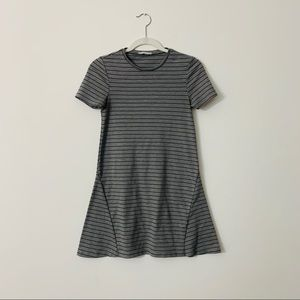 Zara Trafaluc Gray Striped Short Sleeve Dress